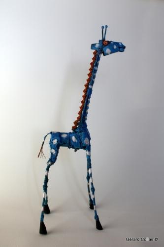 gérard collas,sculpture, assemblage art brut singulier, girafe