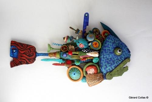 poisson,assemblage art brut singulier, géard collas