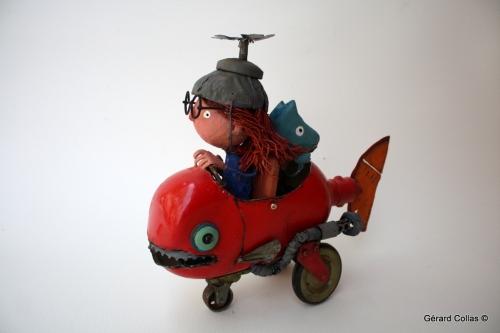 collas assemblage,poisson,voiture