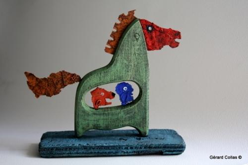gérard collas,asseemblage, cheval,Troie