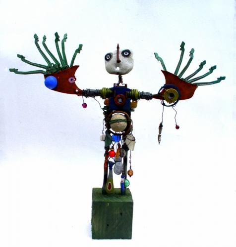 homme oiseau,gérard collas -sculpteur-assemblage-art singulier-