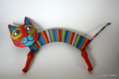 collas ,chat, sculpture,assemblage