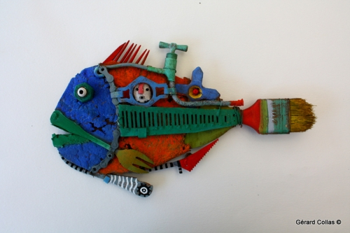 gérard collas, assemblages,poisson, sculpture