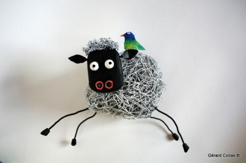 Mouton,sculpture, assemblage, ar,t brut ,singulier