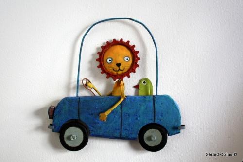 voiture,lion,oiseau,assemblage,collas