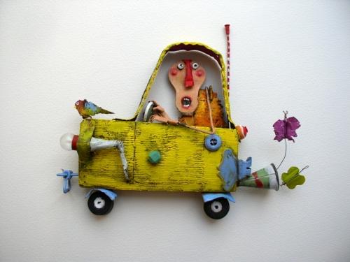 gérard collas -sculpteur-assemblage-art singulier-taxi