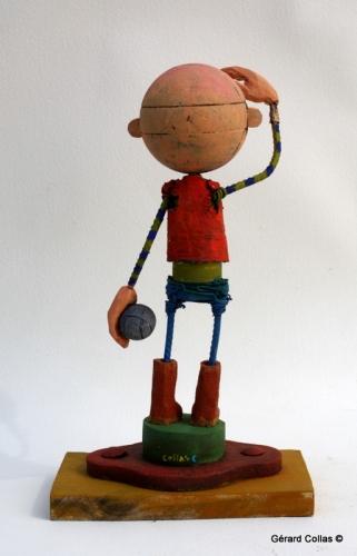 asseemblage,gérard collas,sculpture-assemblage-art singulier-gérard colas-petanque