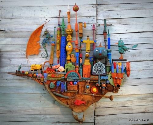 assemblages ,gérard collas, bateau, espadon, fantômeme