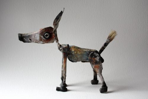 gérard collas -sculpteur,chien,assemblage