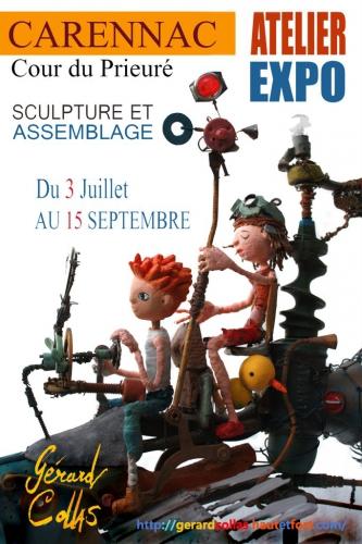 atelier, exposition,2014,gérard collas -dessin-sculpture-ange-serpentine-gargouille