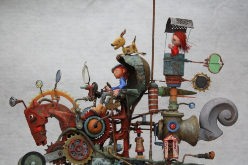 gérard collas -sculpteur-assemblage-cheval-machine