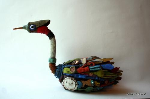 sculpture, assemblage, art brut, singulier, oiseau, grebe huppé