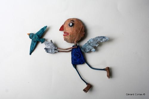 assembage, gérard collas, ange, oiseau