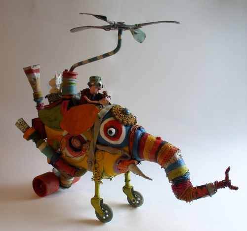 gérard collas -sculpteur-assemblages -sculpture-art singulier-elephant