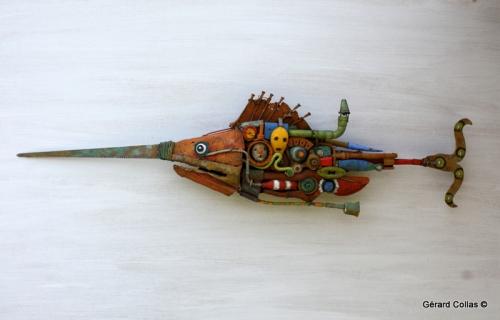 poisson scie, sculpture, assemblage, gérartd collas