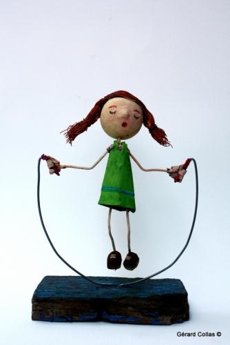 petite fille, corde à sauter, collas
