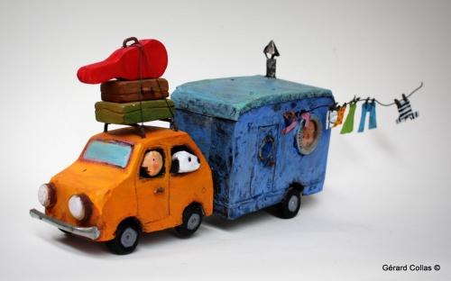 gérard collas, assemblage art brut singulier, caravane, vacance