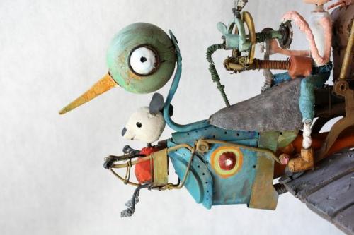 gérard collas,assemblages, oiseau migrateur, sculpture