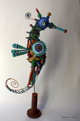 gérard collas,assemblage, art brut ,singulier,hippocampe