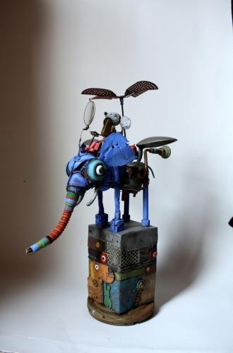 éléphant,assemblage art brut singulier, gérard collas,machine,elephantasmagorique