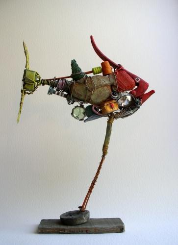gérard collas -sculpteur-assemblage-art singulier-poisson