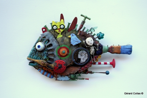 gérard collas, sculpture, asseemblage, poisson