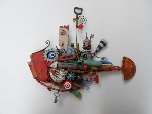 sculpture, asseemblage, poisson,coquillage