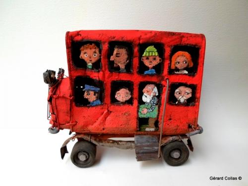 gérard collas -sculpteur-assemblage-art singulier-bus ,