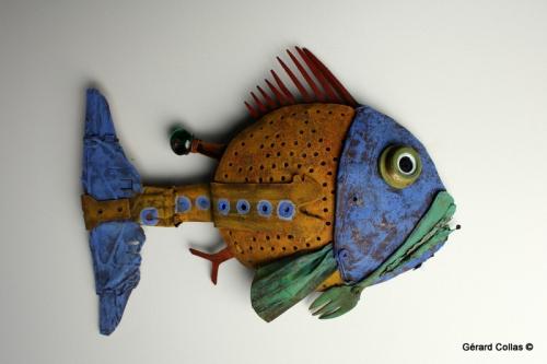 poisson ,assemblage art brut singulier,gérard collas