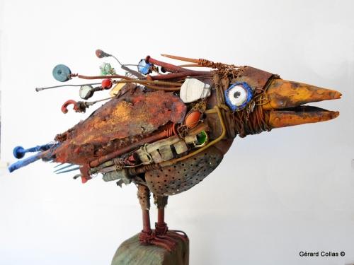 gerard collas,sculpture ,assemblage, corbeau,oiseau,art brut