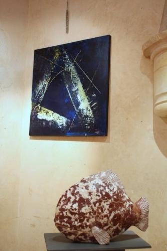 peintures ,Pierette Chapoulard, sculptures ,Ghislain Gallerneau, Nicolas Akielewiez, Thierry Filatre ,gerard collas,carennac,exposition,mois de la pierre,2014