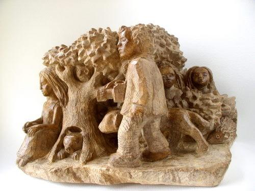 sculpture,stéatite,gérard collas,arbres,forêt,animaux