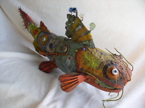 poisson chat, gérard collas -sculpteur-assemblage-art singulier-