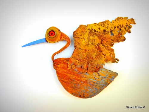 gerard collas,lot sculpteur,assemblage,oiseau