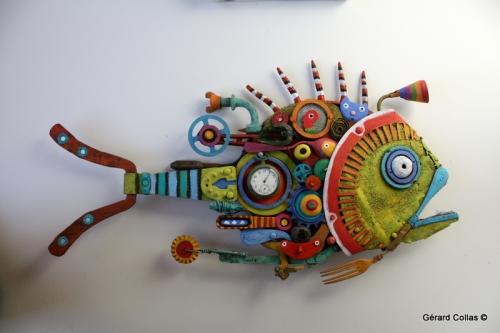 gérard collas,assemblage art brut singulier,poisson
