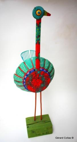 paon sculpture,assemblage art brut singulier