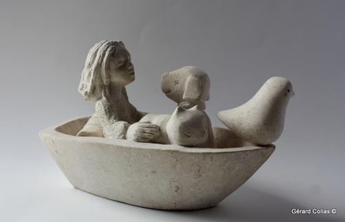 barque,sculpture,gérard collas