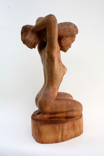 collas, sculpture ,bois, femme