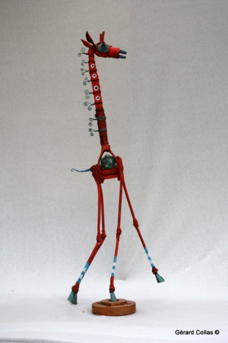 girafe, assemblage, gérard collas -sculpteur