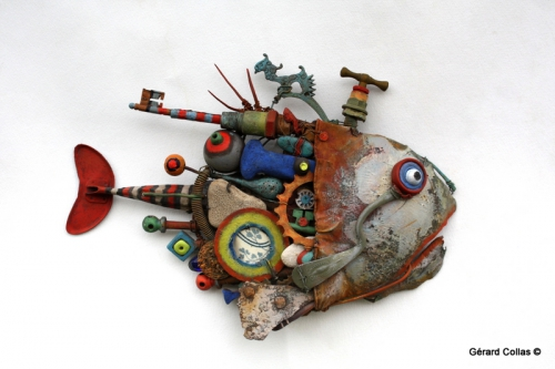 gérard collas, assemblages sculpture,poisson