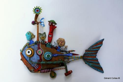 gérard collas,assemblage, poisson,copoissonnage