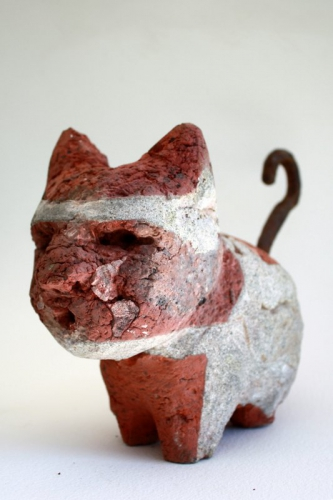 chat,gérard collas, sculpture, brique