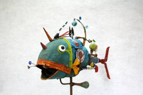 collas,poisson,assemblage,sculpture