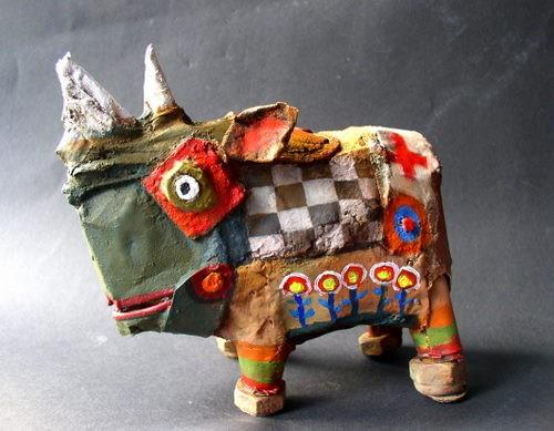 rhinocéros,sculpture ,assemblage