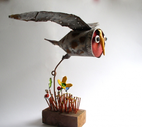chouette,gérard collas,sculpture,assemblages,chouette