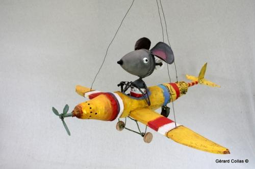 avion souris assemblage,gérard collas -sculpteur-assemblage-art singulier-