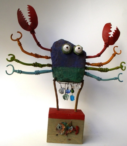 assemblages,crabe,gérard collas,sculpture