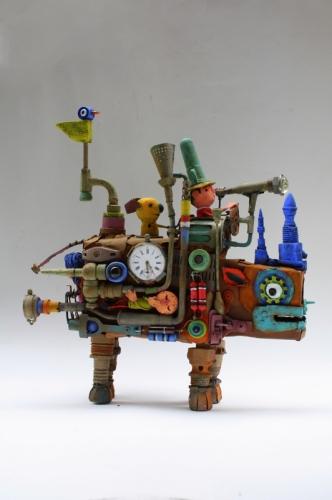 Assemblage ,rhinocéro-machine ,voyager dans le temps ,collas