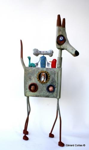 gérard collas -sculpteur-chien,sculpture-art singulier-