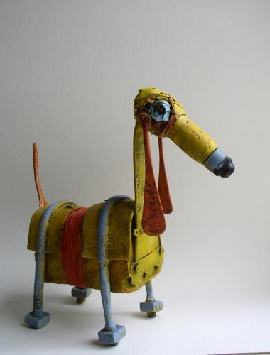 gérard collas -sculpteur-assemblage-art-chien